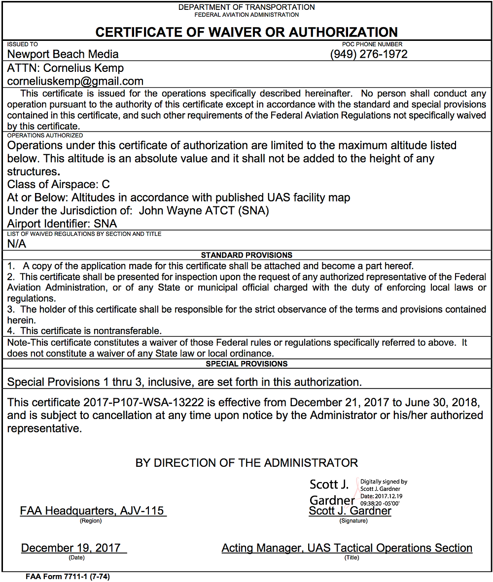 FAA Airspace Authorization for drone photographers