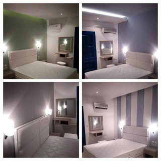 3 Paraktio Hotel, Λευκό δερμάτινο κρεβάτ