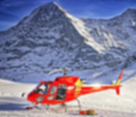 Red Helicopter At Swiss Ski Resort Near