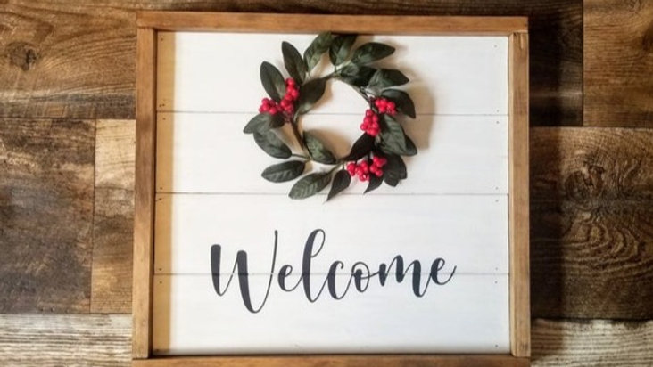 Shiplap Wreath Welcome Sign