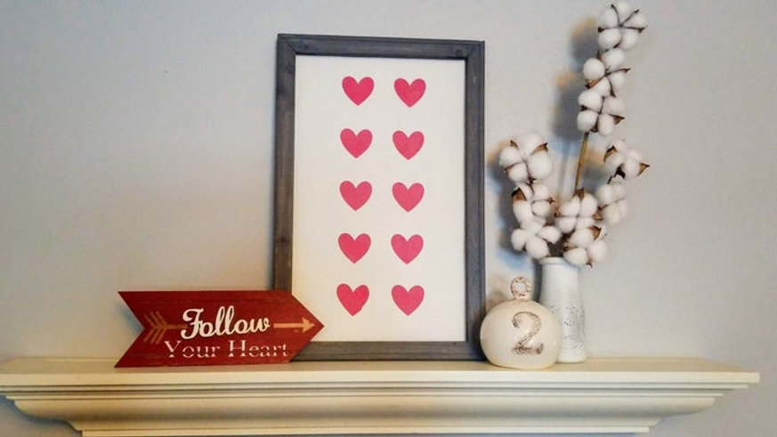Valentine's Day Heart Print Framed Sign