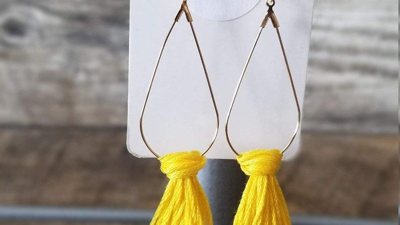 Yellow Tassel Boho Drop Earrings