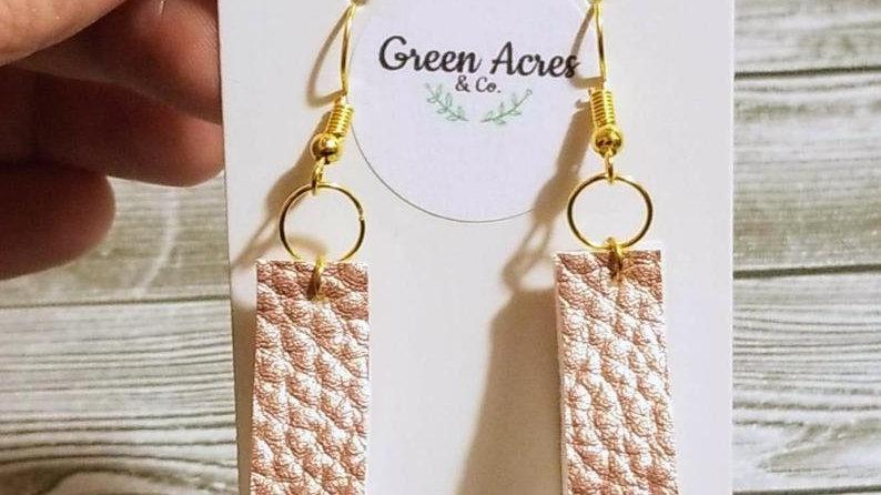 Rose Gold Faux Leather Loop Earrings