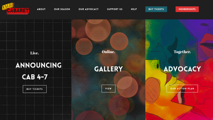 Yale Cabaret: Web Designer, 2020-21 virtual season