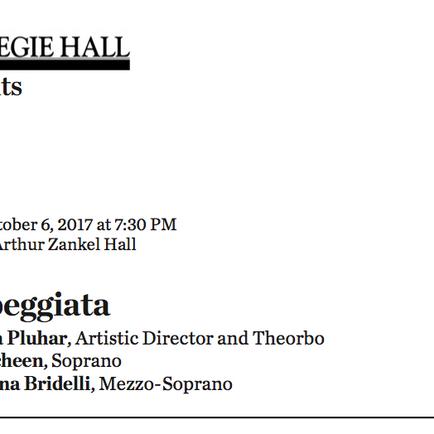Italian translator: Carnegie Hall, L'Arpeggiata
