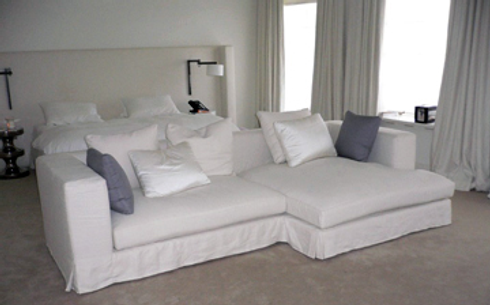 White Linen Loose Covers with Twin Needle Stitch