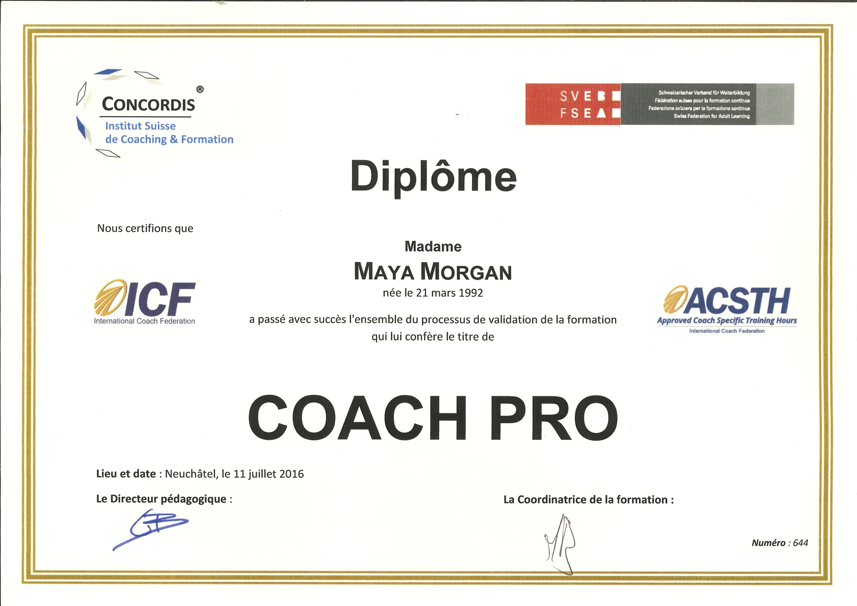 Certificat de Coaching professionel