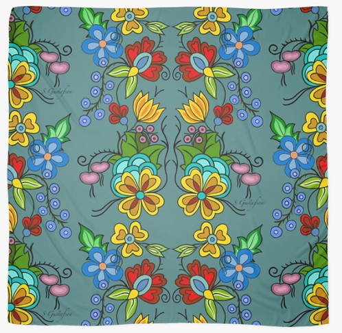 Floral Scarf (Turquoise)
