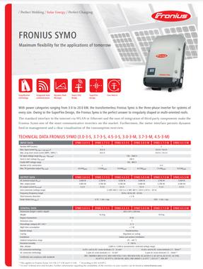 Fronius  - Symo Inverter Data Sheet