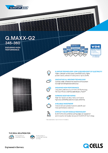 Q Cells - Q.Maxx G2 - Data Sheet