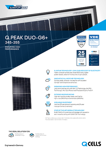 Q Cells -Q.Peak DUO G6+ - Data Sheet