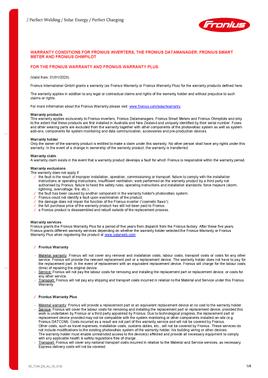Fronius - Product Warranty 2020