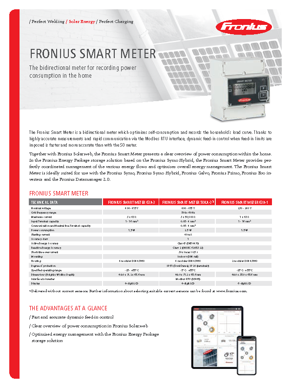 Fronius - Smart Meter - Data Sheet