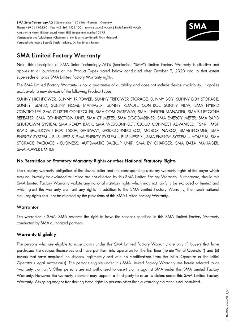 SMA - Limited Factory Warranty