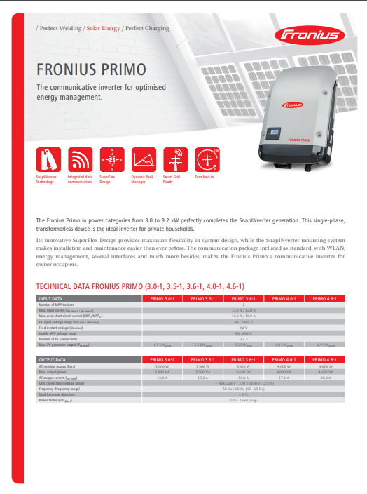 Fronius - Primo Inverter Data Sheet
