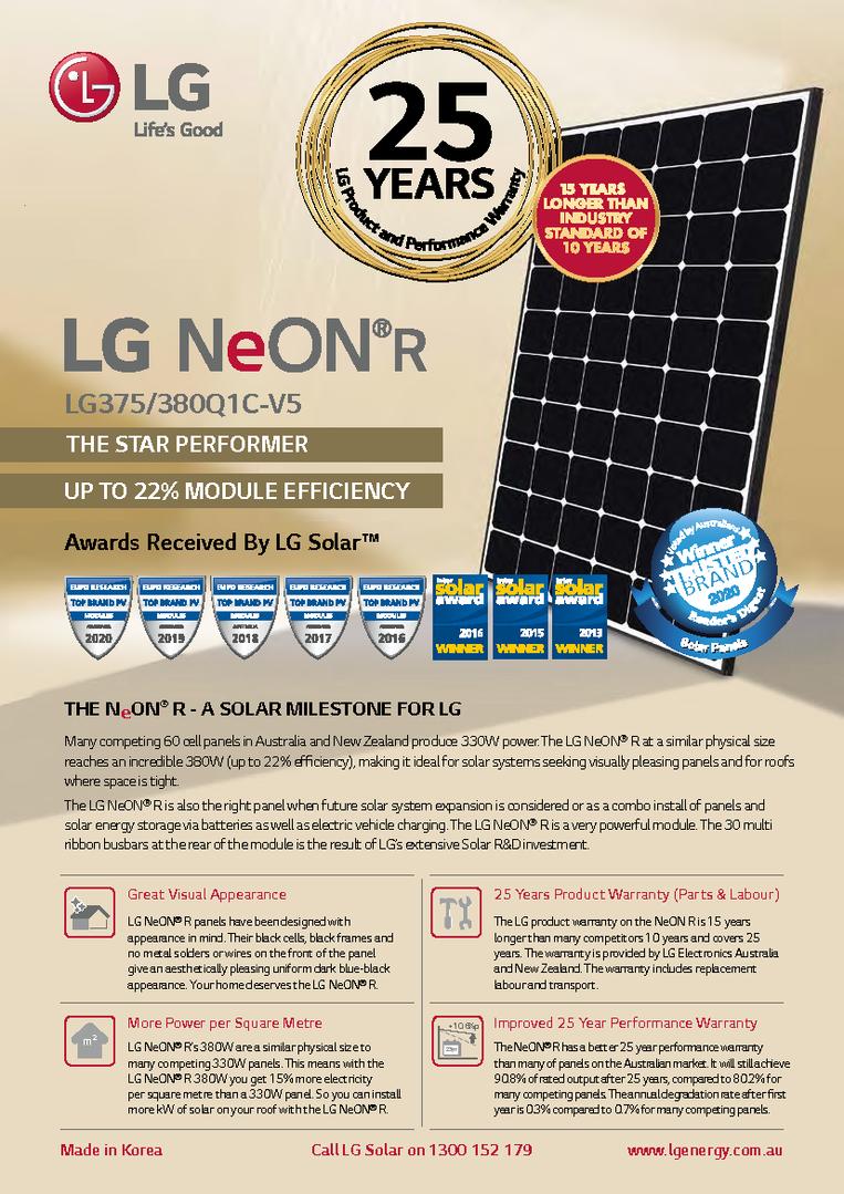 LG NeON R 380W Data Sheet