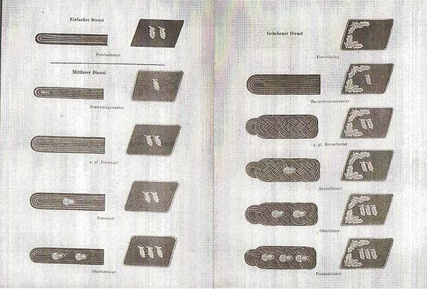 Original ranks charts for shoulder board
