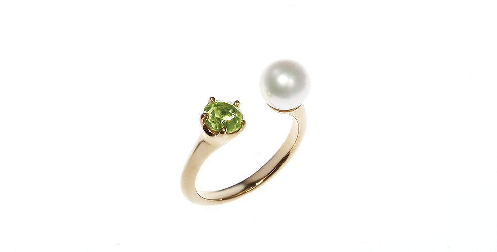 and Pearl Ring - Rose Cut
