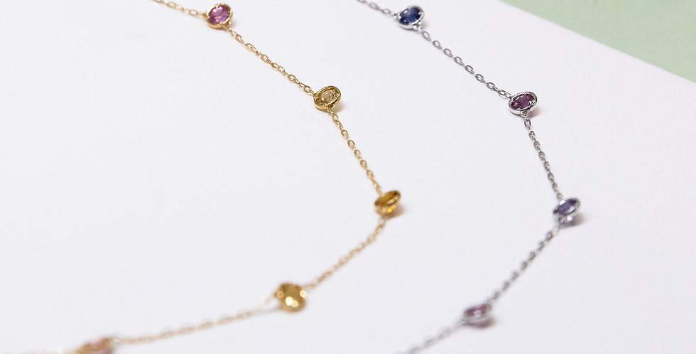 Station Necklace - Sapphire