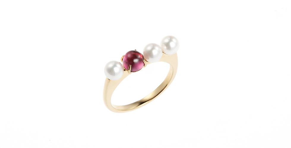 and Pearl Ring - Row Cabochon