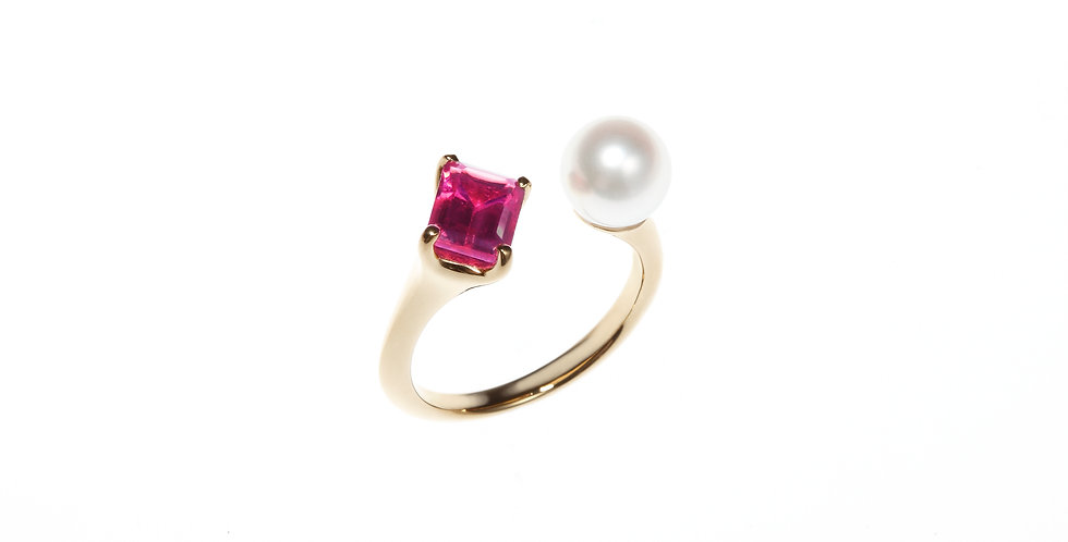 and Pearl Ring - Baguette