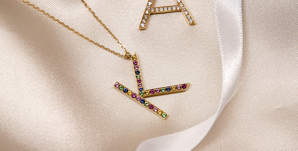 Initial Necklace - Multicolor