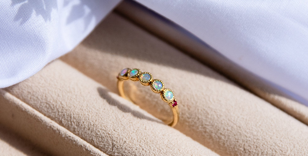 Opal Coordinate Band Ring