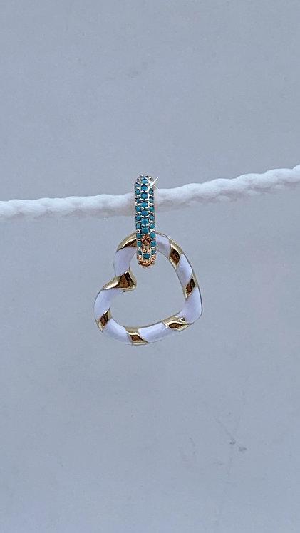 Orecchino cuore bianco e oro+base zirconi azzurri