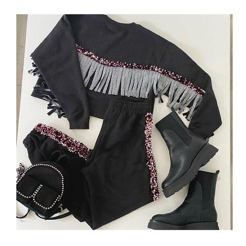 Tuta(pantalone) frange lurex argento