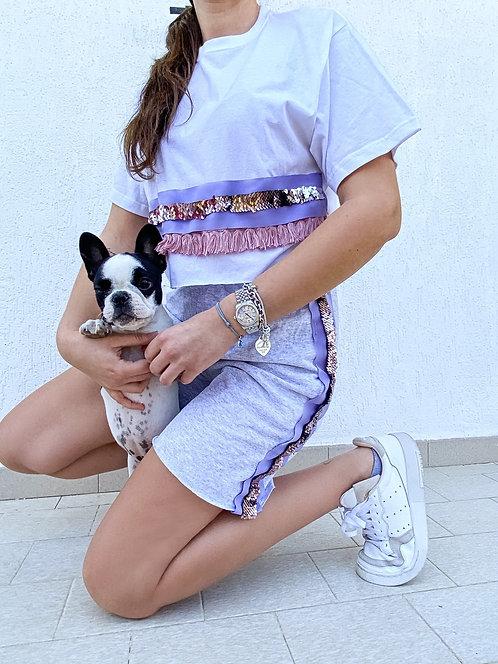Tshirt o Shorts o completo intero frange rosa/lilla