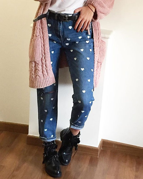 Jeans paillettes e cuori