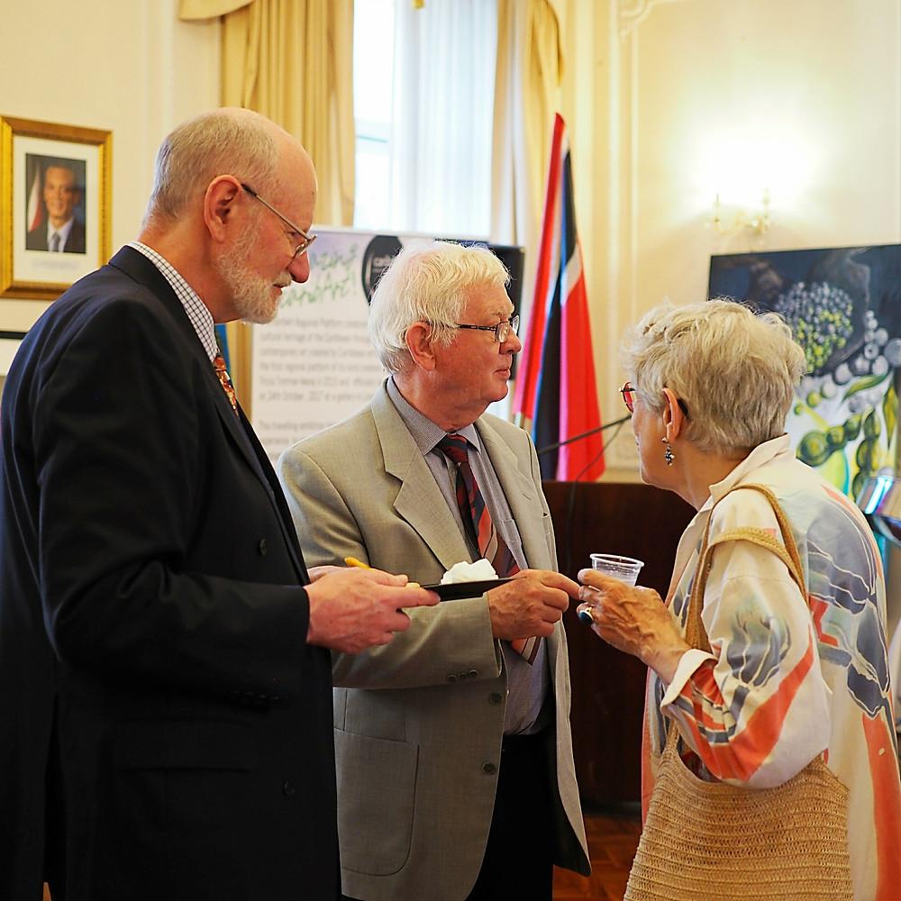 Left - Right Anthony Waldbaum Chairman, Croydon Art Society; Roger Lewis, President Croydon Art Society; and guest.