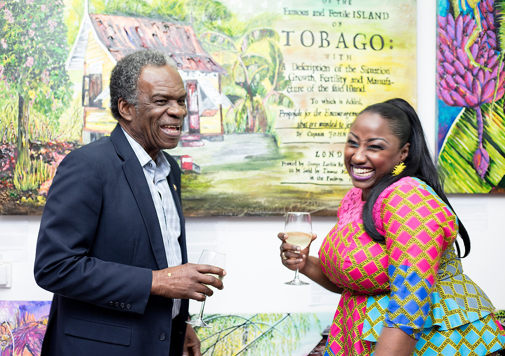 His Excellency Orville London High Commissioner of Trinidad and Tobago, London and former Chief Secretary of the Tobago House of Assembly and artist Tricia Trotman-Maraj unveiling the piece at the caribArt Launch, London.