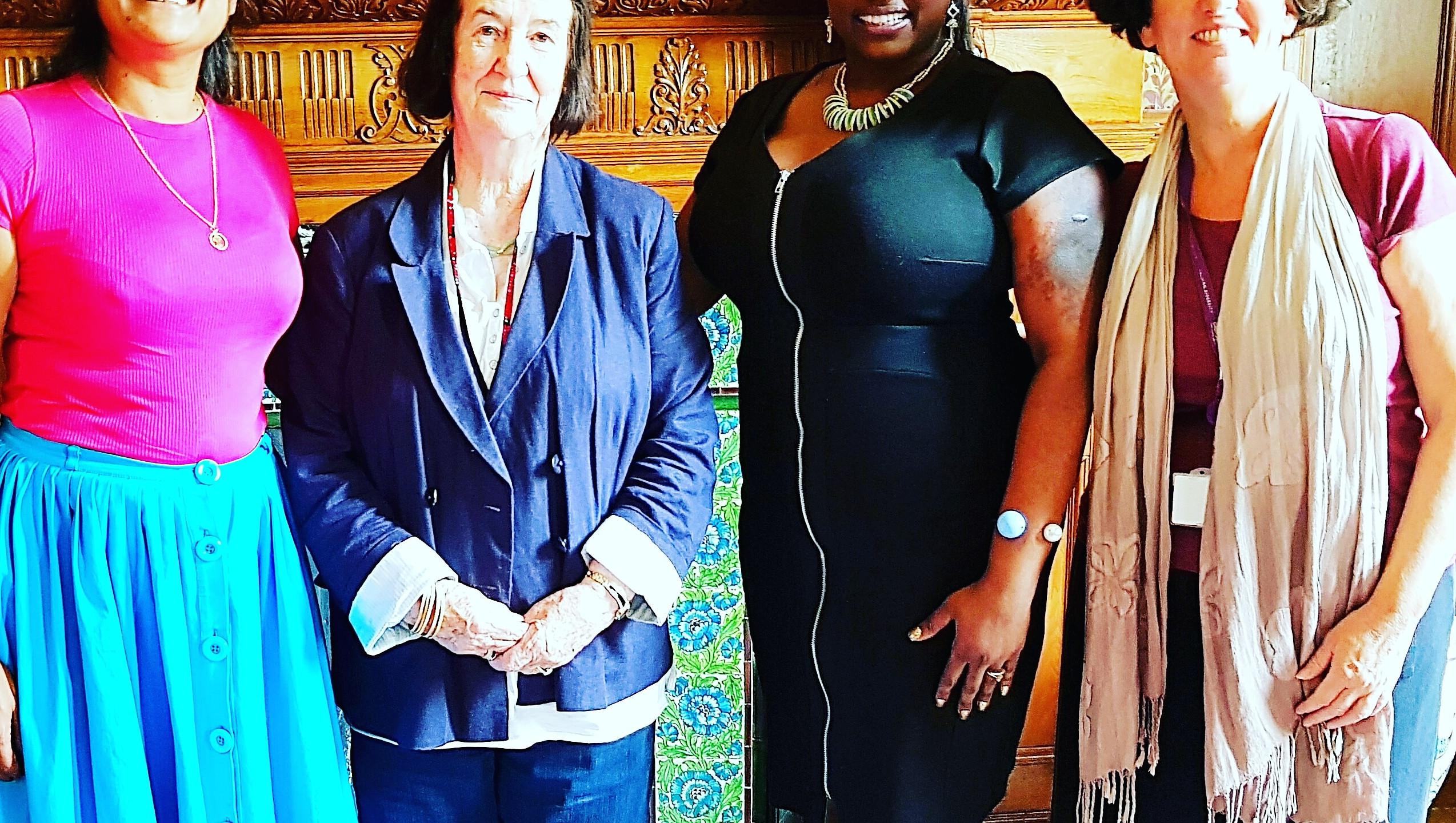 (L-R) Artist Salina Jane, The Worshipful Mayor of Croydon Cllr Bernadette Khan, caribArt Artistic Director Tricia Trotman Maraj and Paula Murray Creative Director Croydon Council