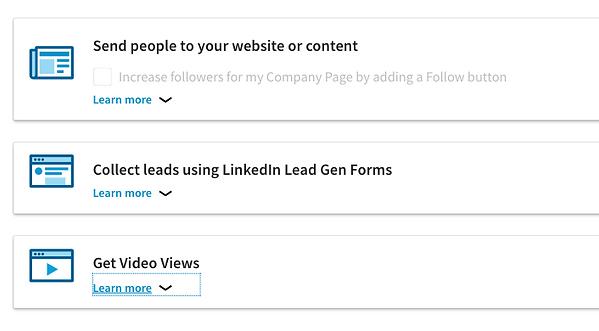 Linkedin Ad Options