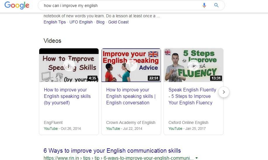 Videos in Google search