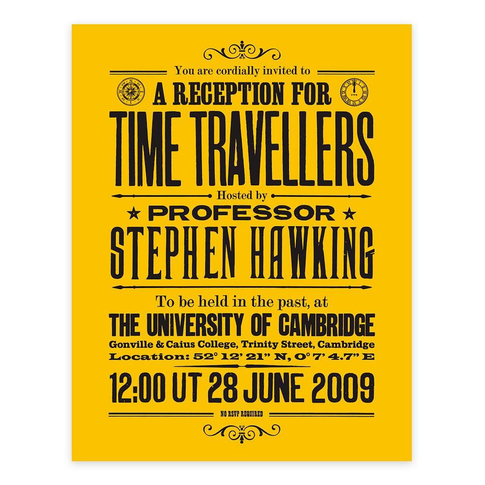 Stephen Hawking Invite for Time Travellers
