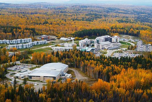 Aerial view of the UNBC Campus in Autumn