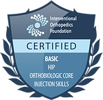Jean Santo IOF certified badge Basic Hip Orthobiologic Core Injection Skills
