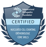 Jean Santo IOF certified badge Nucleated Cell Counting Orthobiologic Core Skills