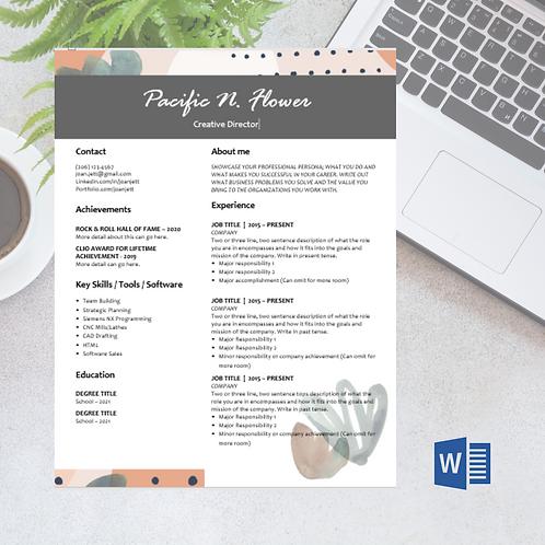Pacific Flower Resume Kit