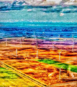 Windmills Edge of the Sea