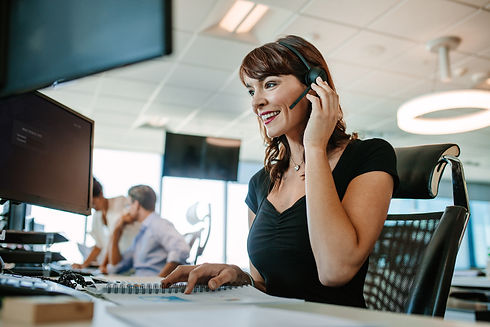 Call center business woman talking on he