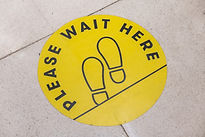 footprint sign for stand in shopping mal