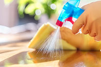 Cleaning with spray detergent, rubber gl