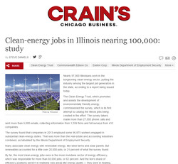 Crain's on Clean Jobs Report