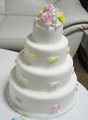 シュガークラフトウェディングケーキ,オーダーメードウェディングケーキ,花嫁様手作り,ピンク,リボン,パステル,薔薇