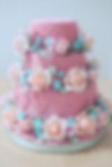 シュガーケーキ,シュガークラフトウェディングケーキ,オーダーメードウェディングケーキ,花嫁様手作り,ピンク,リボン,水玉