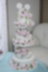 シュガークラフトウェディングケーキ,オーダーメードウェディングケーキ,花嫁様手作り,ディズニー,ミッキーマウス,リボン,水玉