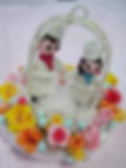 シュガークラフトウェディングケーキ,オーダーメードウェディングケーキ,花嫁様手作り,ピンク,リボン,シュガードール